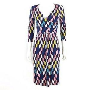 Boden geometric graphic faux wrap dress 10L
